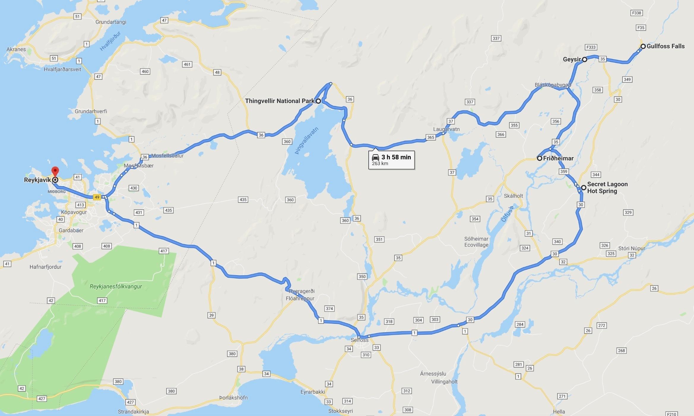 Golden Circle Driving Map