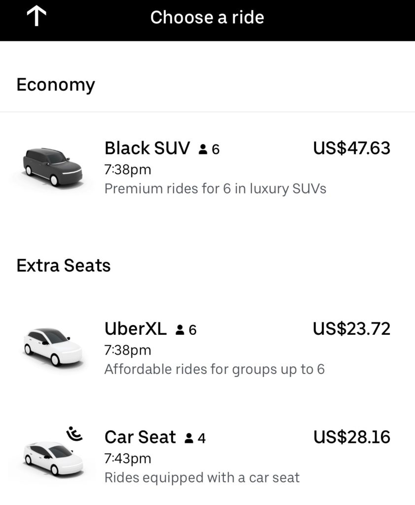 Does Uber have car seats in New York City?