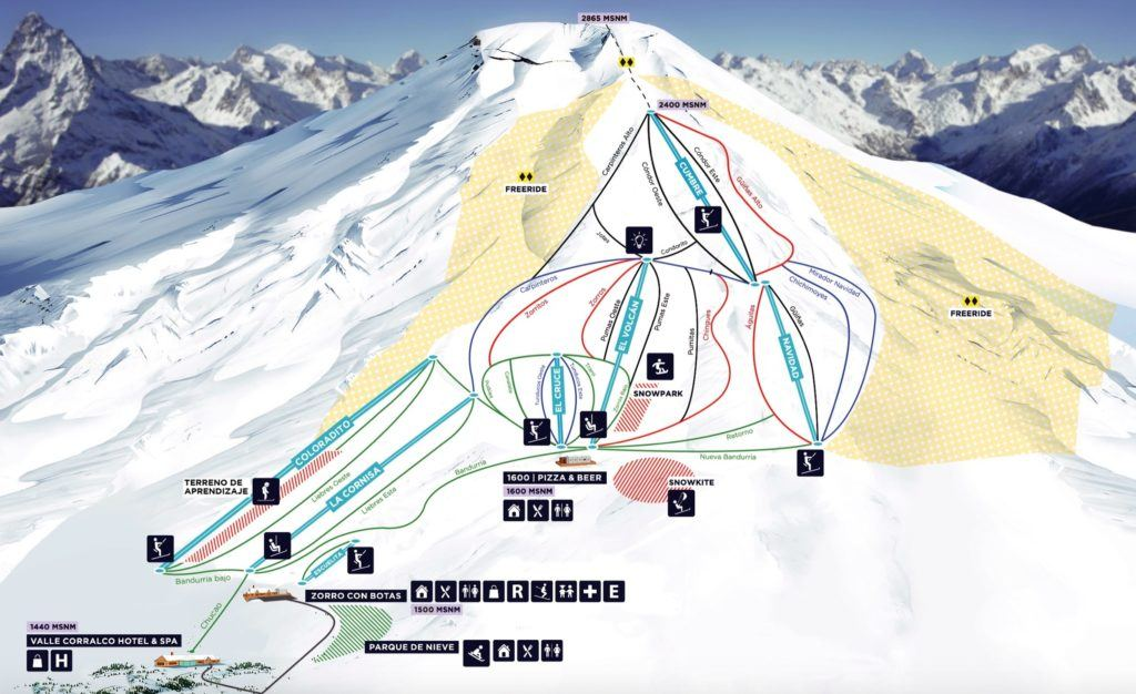 Corralco Ski Resort Map
