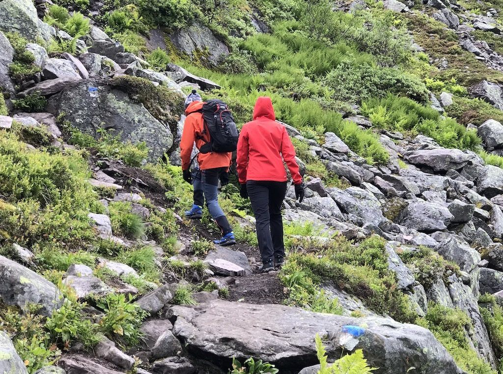 People walking in hiking clothes Norway